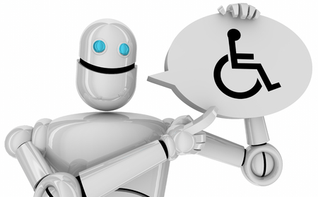 Wheelchair Disabled Person Symbol Disability Robot Android Speech Bubble 3d Illustration 写真素材