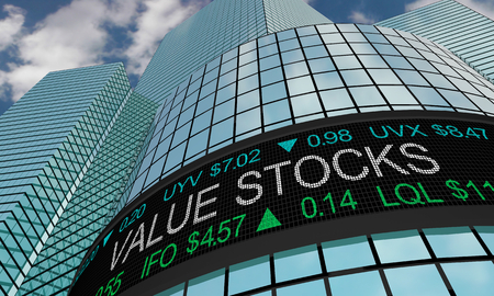 Value Stocks Wall Street Investment Ticker Low Prices 3d Illustration 写真素材