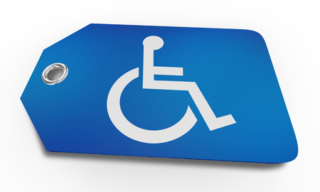 Wheelchair Disabled Person Symbol Disability Price Tag Buy Sale 3d Illustration Banco de Imagens
