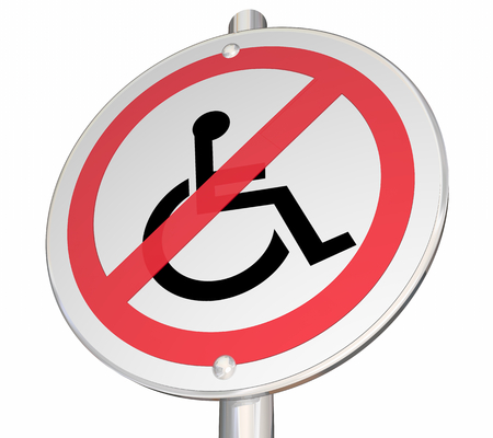 No Wheelchair Access Disabled Person Prohibited Sign 3d Illustration Stock Photo