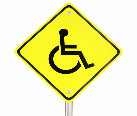 Wheelchair Disabled Person Symbol Disability Yellow Warning Road Sign 3d Illustration