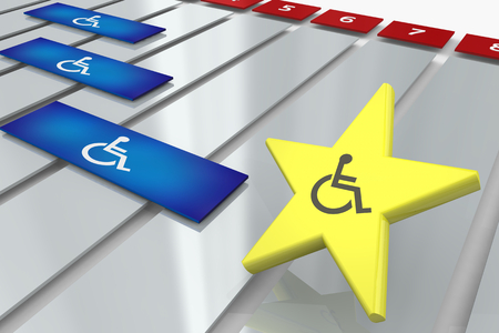 Wheelchair Disabled Person Symbol Disability Gantt Chart Process Timeline 3d Illustration Stock Photo