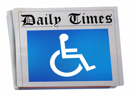 Wheelchair Disabled Person Symbol Disability Newspaper Front Page Coverage 3d Illustration
