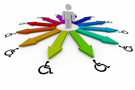 Wheelchair Disabled Person Symbol Disability Choices Options Icons 3d Illustration Stock Photo