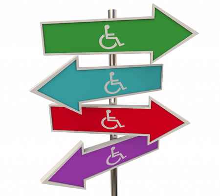 Wheelchair Disabled Person Symbol Disability Arrow Signs Directions 3d Illustration