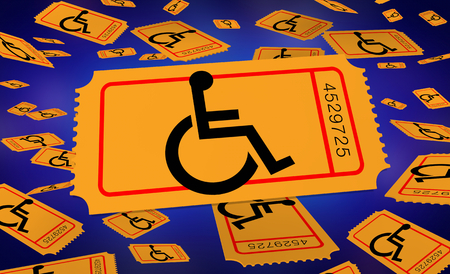 Wheelchair Disabled Person Symbol Disability Ticket Raffle Lottery Enter Win 3d Illustration
