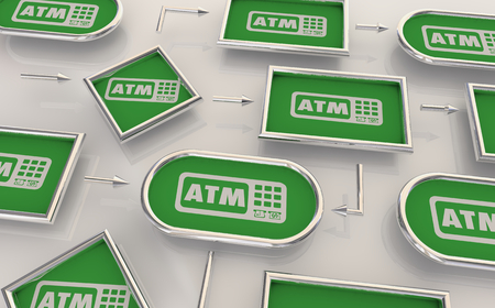 ATM Automated Teller Machine Bank Withdraw Process Map 3d Illustration