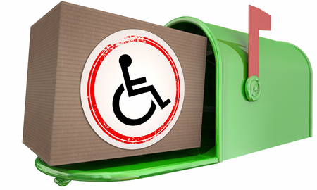 Wheelchair Disabled Person Symbol Disability Mail Delivery Package 3d Illustration Stok Fotoğraf
