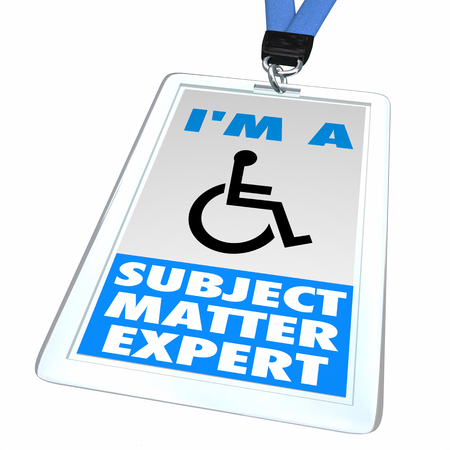 Wheelchair Disabled Person Symbol Disability Subject Matter Expert Badge SME 3d Illustration Banco de Imagens