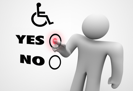 Wheelchair Disabled Person Symbol Disability Select Choose Option 3d Illustration Banco de Imagens - 121780777