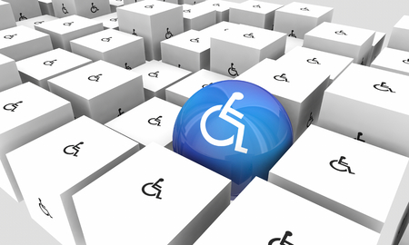 Wheelchair Disabled Person Symbol Disability Sphere Cubes Special Unique 3d Illustration Imagens