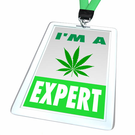 Marijuana Pot Weed Cannabis Expert Badge Pro Knowledge Answers 3d Illustration