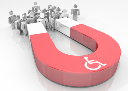 Wheelchair Disabled Person Symbol Disability Magnet Attract People 3d Illustration