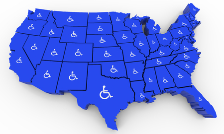 Wheelchair Disabled Person Symbol Disability USA United States America Population 3d Illustration