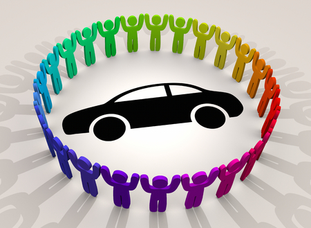 Car People Around Vehicle Automobile Diversity Groups 3d Illustration