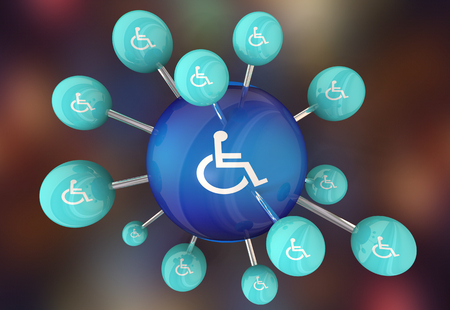 Wheelchair Disabled Person Symbol Disability Connection Network Spheres 3d Illustration