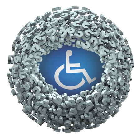 Wheelchair Disabled Person Symbol Disability Question Marks Get Answers 3d Illustration