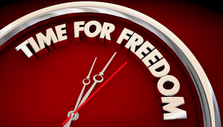 Time for Freedom Clock Liberation Self Determination 3d Illustration