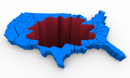 United States of America USA Map Problem Hole Wound Injury 3d Illustration Stok Fotoğraf