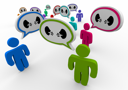 Two People Faces Talking Discussion Communication People Speech Bubbles 3d Illustration