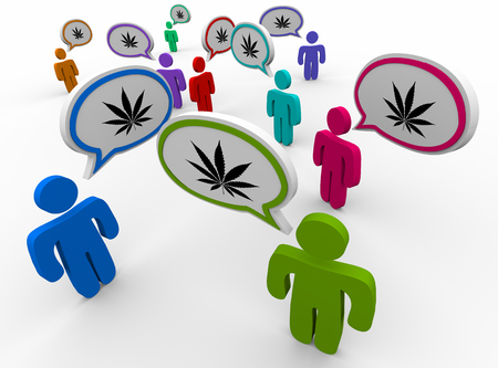 Marijuana Cannabis Pot Weed People Talking Speech Bubbles 3d Illustration