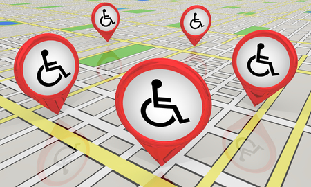 Wheelchair Disabled Person Symbol Disability Map Locations Areas 3d Illustration