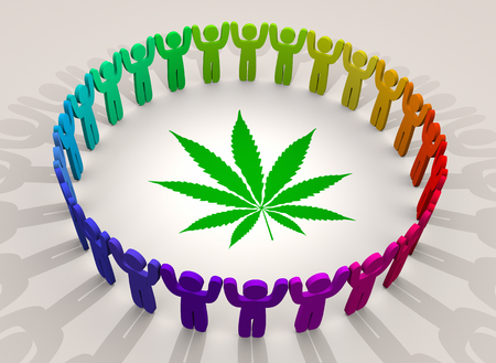 Marijuana Weed Pot Cannabis People Ring Group Customers 3d Illustration Stock Photo