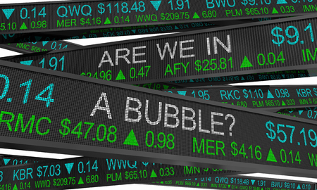 Are We in a Bubble Stock Market Inflated Values 3d Illustration Stock Photo