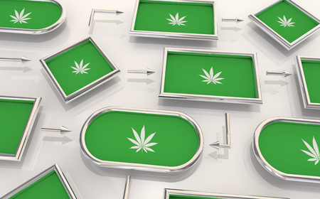 Marijuana Weed Pot Cannabis Process Map Steps Levels 3d Illustration Stok Fotoğraf