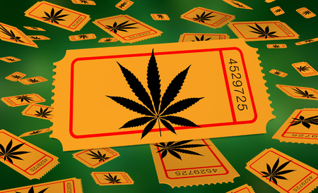 Marijuana Pot Weed Cannabis Ticket Enter Win Prize Drawing Lottery 3d Illustration
