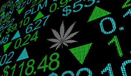 Marijuana Pot Weed Cannabis Stock Company Business Market 3d Illustration Standard-Bild