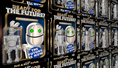 Ready for the Future Change Coming Robot Action Figures 3d Illustration