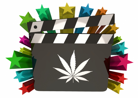 Marijuana Weed Pot Cannabis Movie Film Clapper Hollywood 3d Illustration Stock Photo