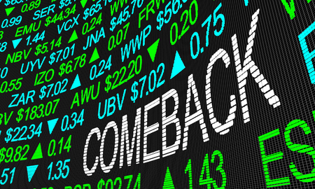 Comeback Resurgance Rebound Company Shares Rise Stock Market 3d Illustration Reklamní fotografie