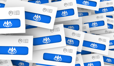 Water H20 Drinkable Clean Resource Envelopes Direct Mail Offer 3d Illustration