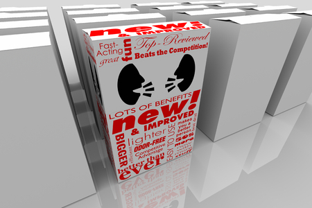 Two People Faces Talking Discussion Communication Product Box Package 3d Illustration