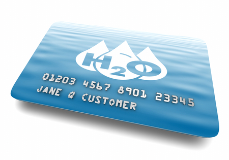 Water H20 Drinkable Clean Resource Credit Card Account 3d Illustration