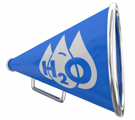 Water H20 Drinkable Clean Resource Bullhorn Megaphone 3d Illustration Stock fotó - 123497310