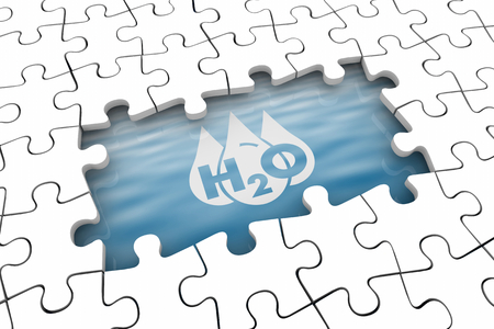 Water H20 Drinkable Clean Resource Puzzle Hole Gap Problem 3d Illustration