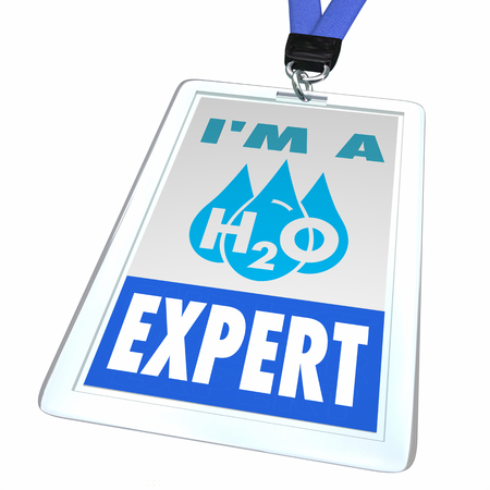 Water H20 Drinkable Clean Resource Expert Staff Badge 3d Illustration