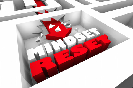 Mindset Reset Change Your View Thinking Maze 3d Illustration 版權商用圖片