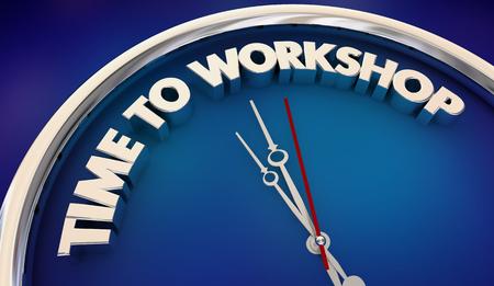 Time to Workshop Clock Seminar Training Education 3d Illustration