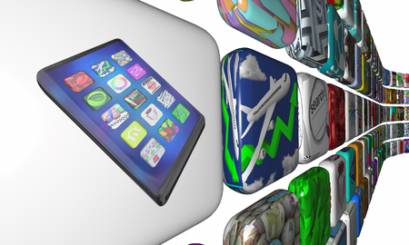 New Smart Phone Cell Apps Software Market Download 3d Illustration 写真素材