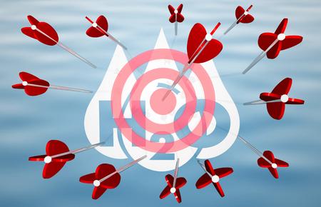 Water H20 Drinkable Clean Resource Arrows Target Bullseye 3d Illustration Stock Photo