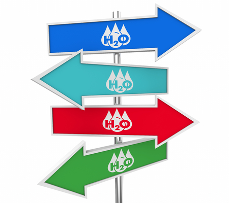 Water H20 Drinkable Clean Resource Arrows Signs Here 3d Illustration
