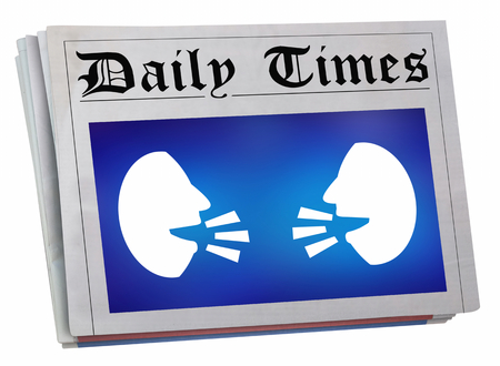 Two People Faces Talking Discussion Communication Newspaper Front Page Big News 3d Illustration