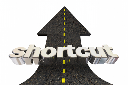 Shortcut Easy Fast Way Road Arrow Up Word 3d Illustration