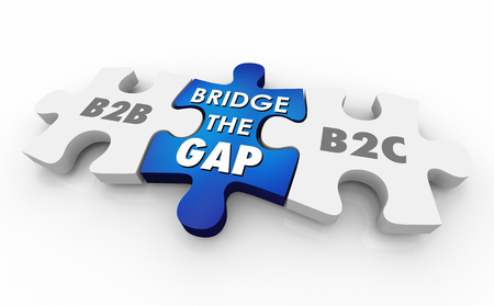 B2B B2C Bridge the Gap Puzzle Pieces Words 3d Illustration 스톡 콘텐츠