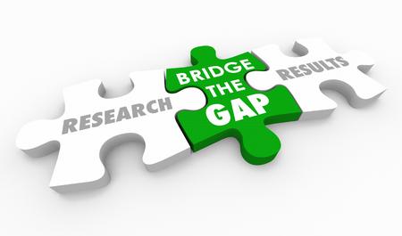 Forschungsergebnisse Bridge the Gap Puzzleteile Wörter 3D-Illustration Standard-Bild