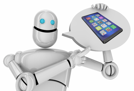 Cell Phone New Smart Device Robot AI Artificial Intelligence 3d Illustration